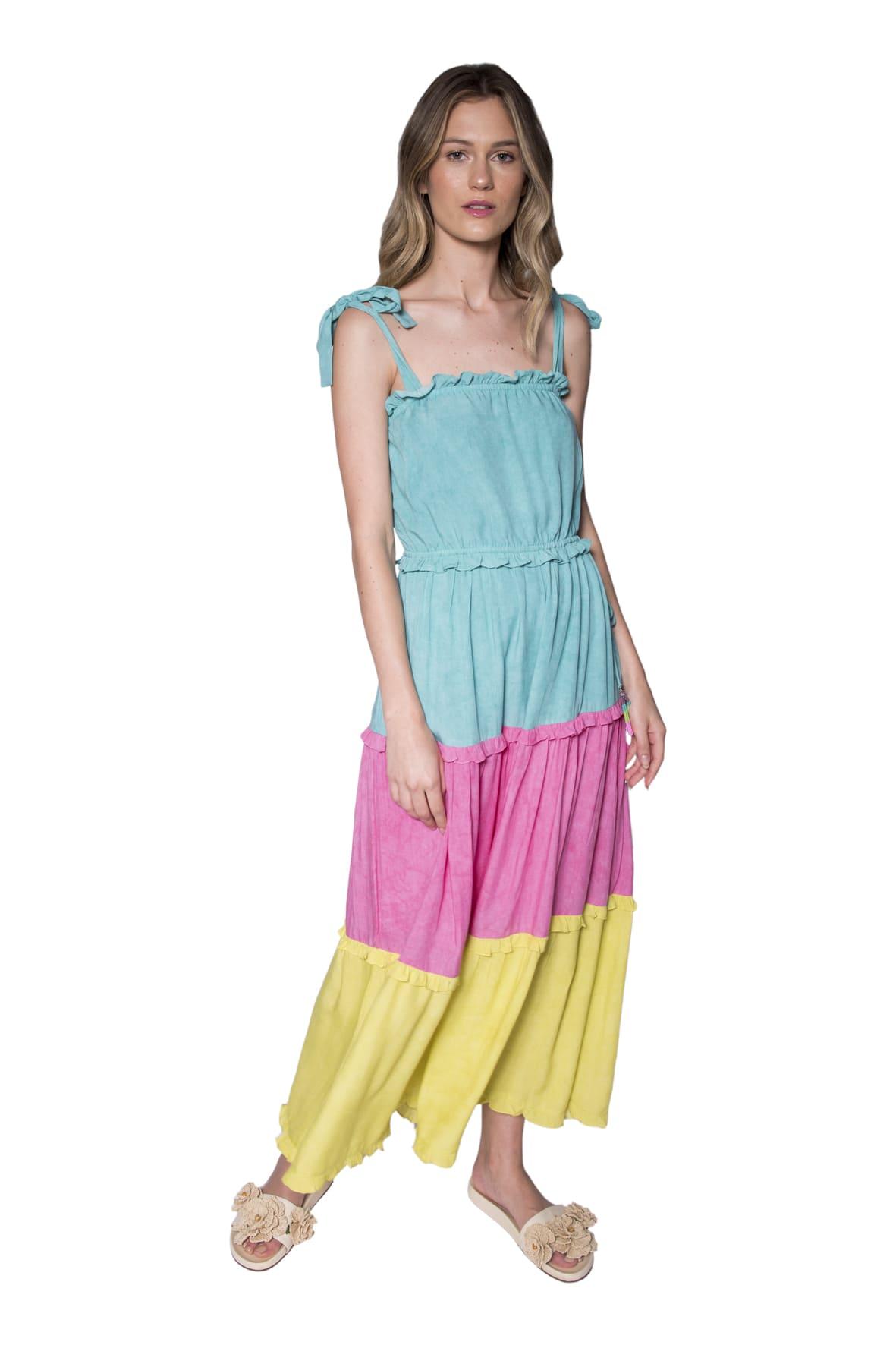 Tee Match - vestido voil tricolor
