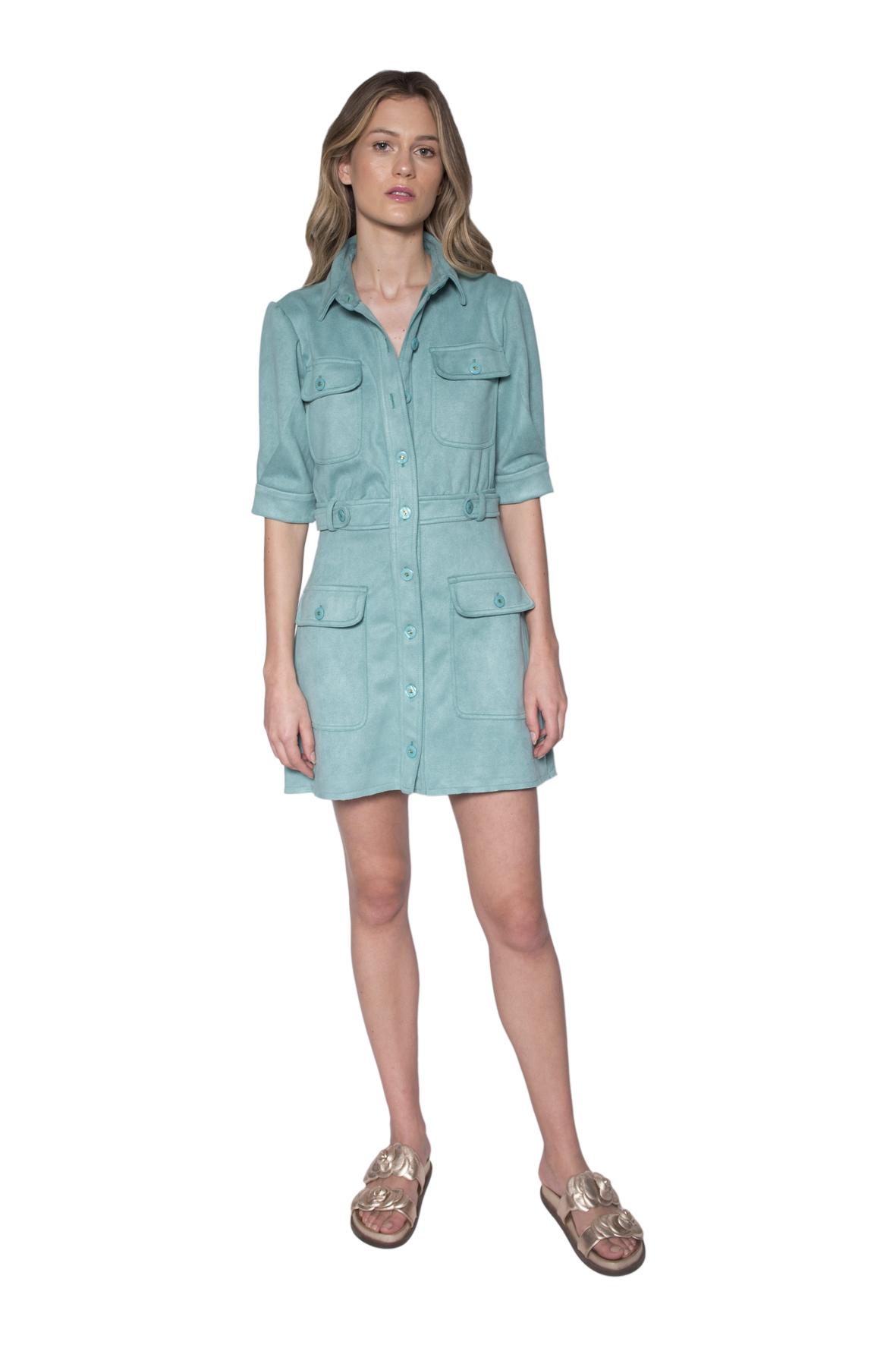 Tee Match - vestido mini suede aquamarine
